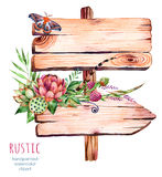 Watercolor wooden pointer.decorated with flowers Stock Image