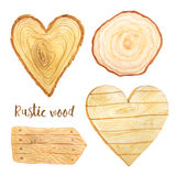 Watercolor wooden slice and plank. Watercolor hand painted heart wood slices and plank.Realistic tree rings. Painted wooden texture in eco natural rustic style Stock Photography