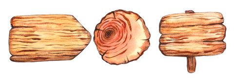 Watercolor wooden slices clipart. Rustic royalty free illustration