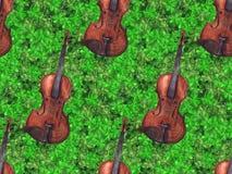 Watercolor wooden vintage violin fiddle musical instrument clover shamrock leaf plant Ireland seamless pattern texture background.  Stock Image