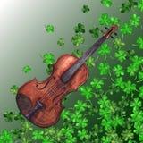 Watercolor wooden vintage violin fiddle musical instrument clover shamrock leaf plant pattern background.  Stock Image