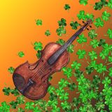 Watercolor wooden vintage violin fiddle musical instrument clover shamrock leaf plant pattern background.  Stock Photos