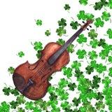 Watercolor wooden vintage violin fiddle musical instrument clover shamrock leaf plant pattern background.  Stock Photography