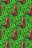 Watercolor wooden vintage violin fiddle musical instrument clover shamrock plant seamless pattern texture background. Watercolor wooden vintage violin fiddle Royalty Free Stock Image
