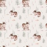 Watercolor Woodland animal Scandinavian seamless pattern. Fabric wallpaper background with Owl, hedgehog, fox and