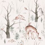 Watercolor Woodland Animal Scandinavian Seamless Pattern. Fabric Wallpaper Background With Owl, Hedgehog, Fox And Stock Images