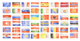 Watercolor world flags. Royalty Free Stock Image