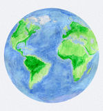 Watercolor World Globe Stock Images
