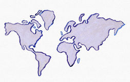 Watercolor World Map. Stock Images