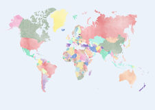 WATERCOLOR WORLD MAP WITH COUNTRIES Royalty Free Stock Photography