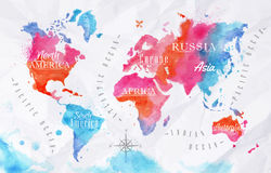 Watercolor world map pink blue stock illustration