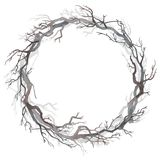 Watercolor wreath of bare branches royalty free stock photos