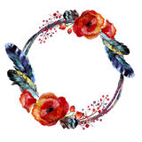 Watercolor wreath in boho style. Royalty Free Stock Images
