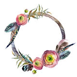 Watercolor wreath in boho style. Royalty Free Stock Photography