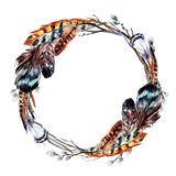 Watercolor wreath in boho style. Royalty Free Stock Image