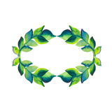 Watercolor wreath of branch with green leaves Stock Photo