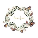 Beautiful Watercolor wreath with butterfly and leaves. Illustration royalty free illustration