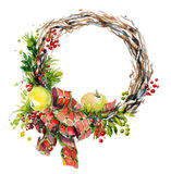 Watercolor wreath. Christmas decoration. Stock Photography