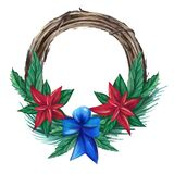 Watercolor wreath with Christmas decorations, ribbon, bow, flowers, berries, leaves, fir branches.