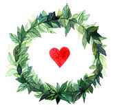 Watercolor wreath circle frame of spices with the green floral branches and red heart.  on white background. Royalty Free Stock Photos