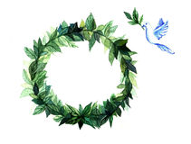 Watercolor wreath circle frame of spices with the green floral branches  on white background. Stock Photography