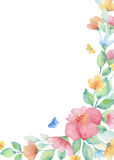 Watercolor wreath of colorful flowers. Watercolor wreath of colorful flowers, leaves and butterflies. Template for invitations, cards, greetings, wedding design Stock Photo