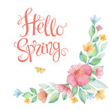 Watercolor wreath of colorful flowers. Watercolor wreath of colorful flowers, leaves and lettering  Hello Spring. Ideal for invitations, cards, greetings Stock Photography
