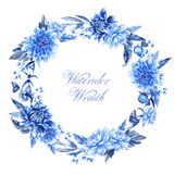Watercolor wreath with dahlias. royalty free illustration