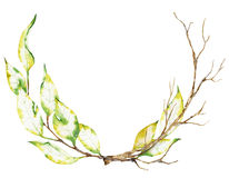 Watercolor wreath of dry autumn branches isolated royalty free stock images