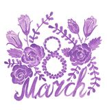 Watercolor wreath in eight form for 8 march with flower and leav. Es. Greeting card for March 8, women day Stock Illustration