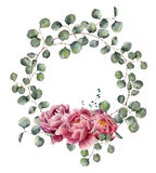 Watercolor wreath with eucalyptus branch and peony. Hand painted floral illustration with round leaves of silver dollar. Eucalyptus and pink flowers isolated on stock illustration