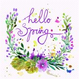 Watercolor  wreath. Floral frame design with text hello spring. Royalty Free Stock Photo