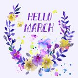 Watercolor  wreath. Floral frame design with text hello spring. Stock Images