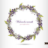 Watercolor wreath with flowers,foliage and branch. Stock Photos