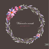 Watercolor wreath with flowers,foliage and branch. Royalty Free Stock Photography