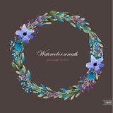 Watercolor wreath with flowers,foliage and branch. Stock Illustration