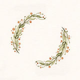 Watercolor wreath with green leaves and branches. Used for wedding invitation, greeting cards Royalty Free Stock Photography
