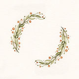 Watercolor wreath with green leaves and branches. Used for wedding invitation, greeting cards Stock Image