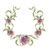 Watercolor wreath with greenery branch and roses. Hand painted floral frame with flowers and leaves isolated on white Stock Photography