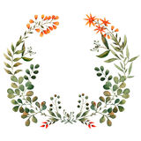 Watercolor wreath of greenery, spring Royalty Free Stock Image