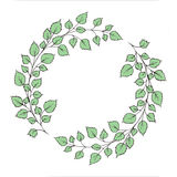 Watercolor wreath with greenleaves. Watercolor wreath with green leaves and branches. Used for wedding invitation, greeting cards Stock Photo