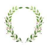 Watercolor wreath. Hand drawn illustration.  Stock Photography