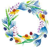 Watercolor wreath. Hand painting watercolor flowers wreath. Colorful floral collection with leaves and flowers.Wedding, birthday, celebration card elements Royalty Free Stock Photography
