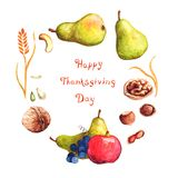 Watercolor wreath illustration to Thanksgiving Day Vector Illustration
