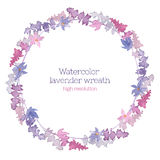 Watercolor wreath of lavender Stock Photo