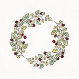 Watercolor wreath with leaves and berries of raspberries. Used for wedding invitation, greeting cards Stock Illustration
