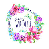 Watercolor wreath of lilies, pansies and forget-me-not. Royalty Free Stock Photo