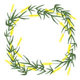 Watercolor wreath made from ears of wheat on white background. Royalty Free Stock Images