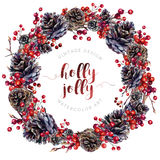 Watercolor wreath made of pine cones and berries. Watercolor Christmas wreath made of pine cones, red holly berries, osier twigs isolated on white. Yule chaplet Stock Photos