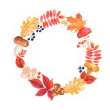 Watercolor wreath with mushrooms, berries, colored leaves. stock illustration